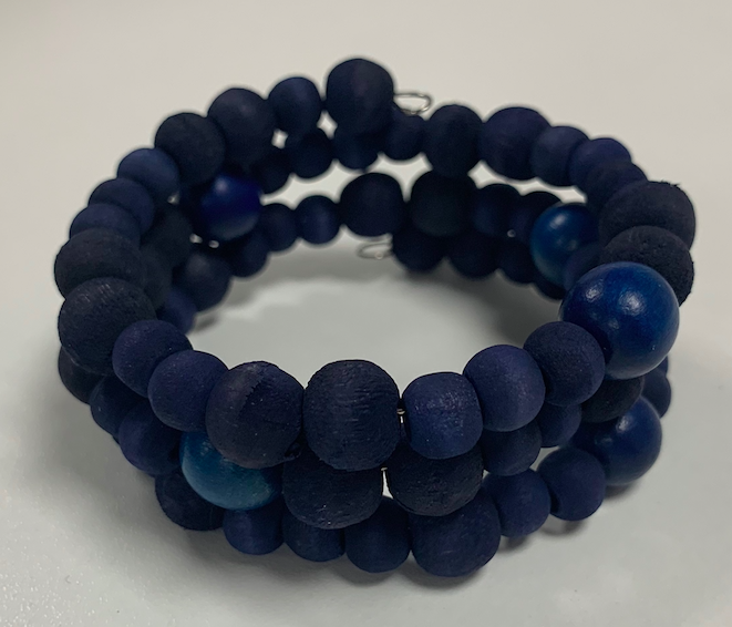 Wooden Bead Bracelet Blue 4mm - 10mm Beads Handmade