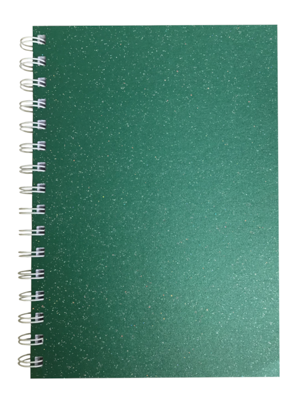 Xmas Green Sparkle Pearlised A5 Plain Notepad 80gsm 70 Sheets