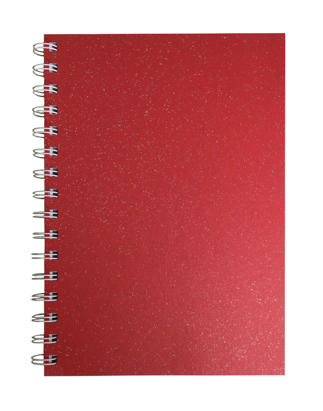 Xmas Red Sparkle Pearlised A5 Plain Notepad 80gsm 70 Sheets