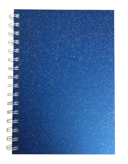 Yale Blue Sparkle Pearlised A5 Plain Notepad 80gsm 70 Sheets
