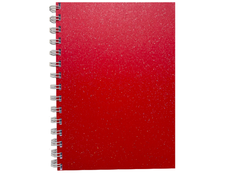 Xmas Red Sparkle Pearlised A5 Squared Notepad 80gsm 70 Sheets