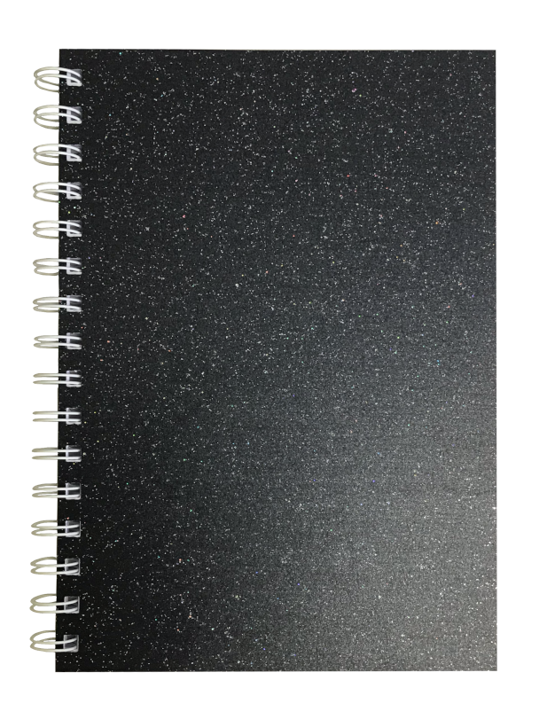 Charcoal Sparkle Pearlised A5 Squared Notepad 80gsm 70 Sheets