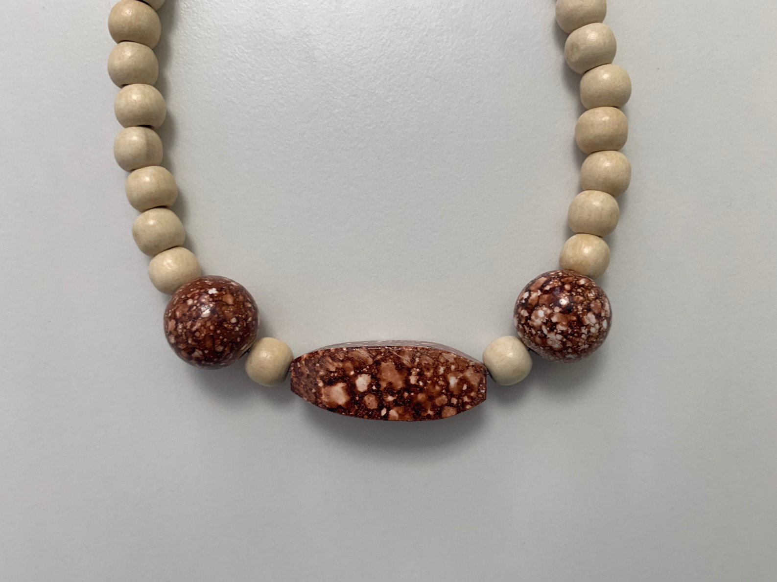 Wooden Bead Necklace Brown Speckle Handmade
